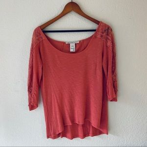 Coral Long Sleeve with Lace Detail